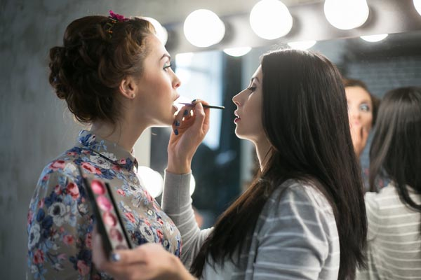 Backstage styling at a fashion show